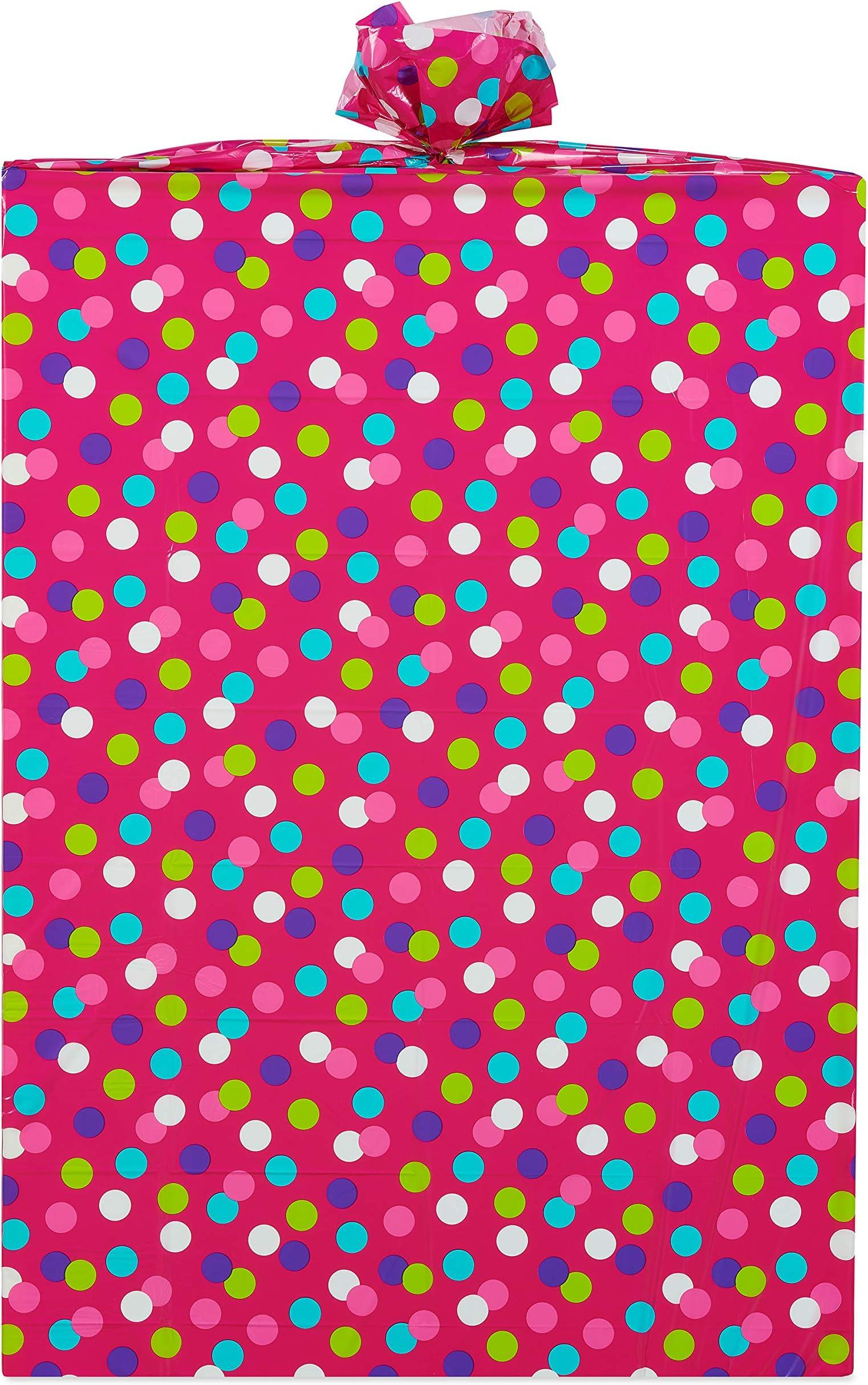 Pack of 12 SSF Pink Gift Bag with Orange Polka Dots