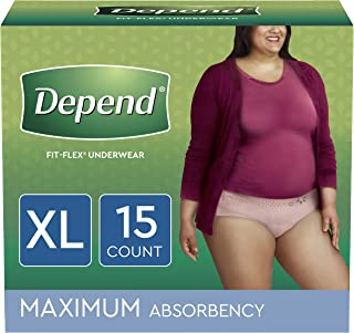 Depend FIT-FLEX Incontinence Underwear for Women, Disposable, Maximum Absorbency, Blush, 15 Count, X-Large (Pack of 1)