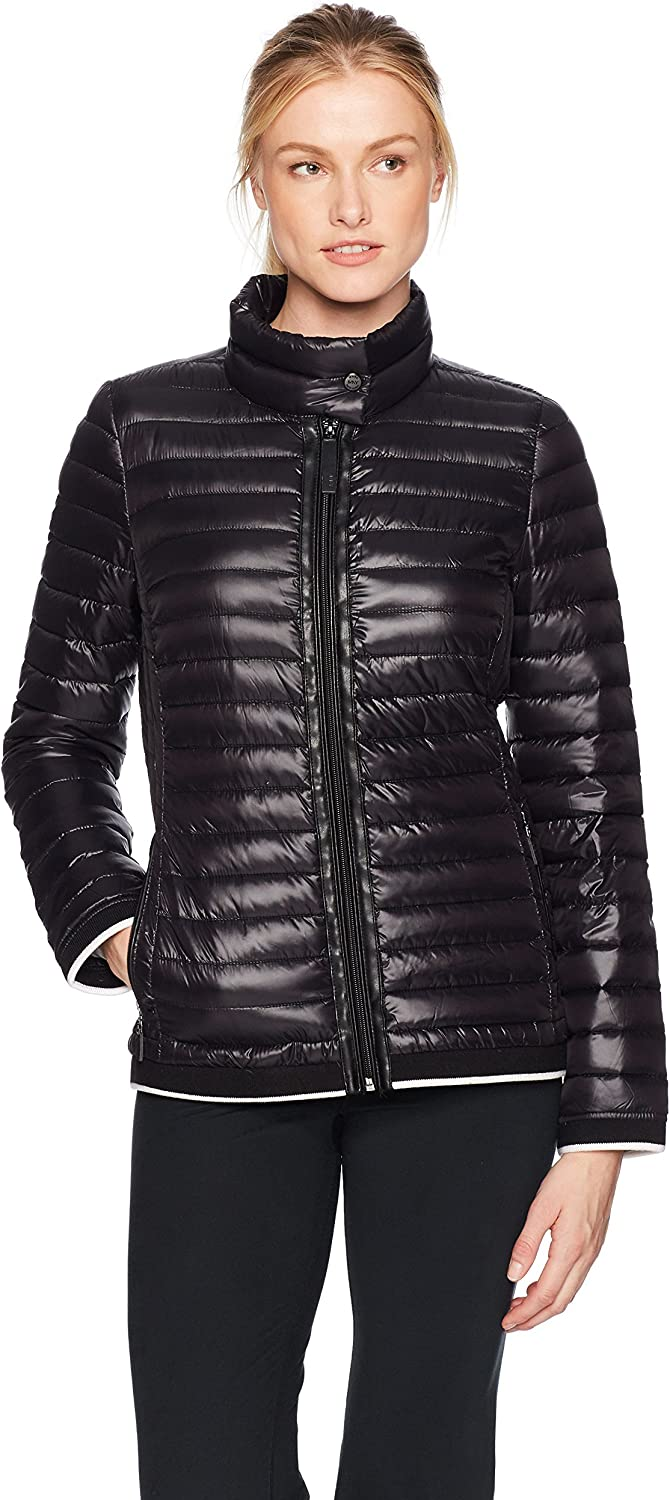 Marc New York Performance Womens Packable JKT with Novelty Stripe Rib Warm Up or Track Jacket