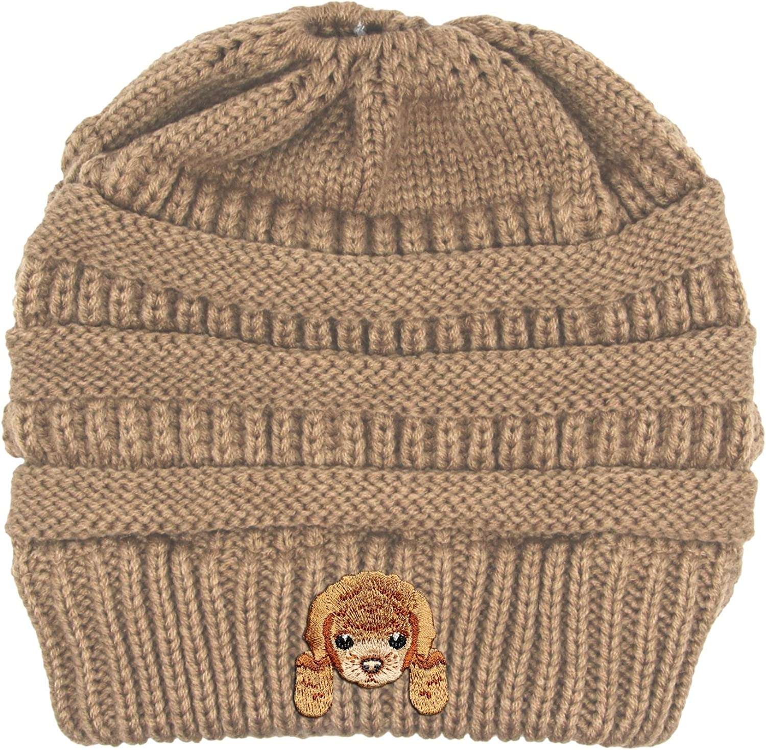 Lhotse Poodle Embroidered Puppy Dog Series Beanie  Stretch Fleece Cable Knit High Bun Ponytail Skullies Hat Cap  Beige