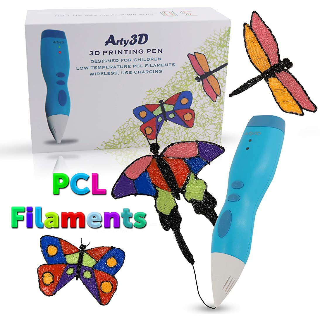 3D Printing Pen 3D Drawing Pen PCL Filaments Art and Craft Doodler Low Temperature Safe for Kids Modeling Pen Wireless USB Charging Clog Free Arty3D Blue