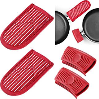 4 Pieces Striped Hot Handle Cover Sleeve and Silicone Assist Pan Pot Holder for Cast Iron Skillets Pots Frying Pans Alumin...