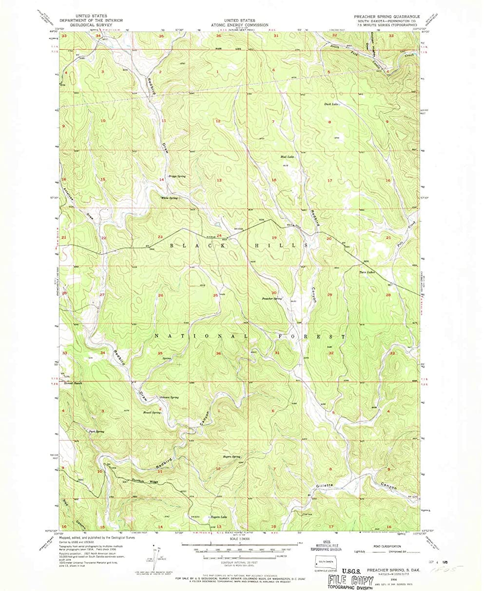 YellowMaps Preacher Spring SD topo map, 1:24000 Scale, 7.5 X 7.5 Minute, Historical, 1956, Updated 1970, 27 x 22.1 in