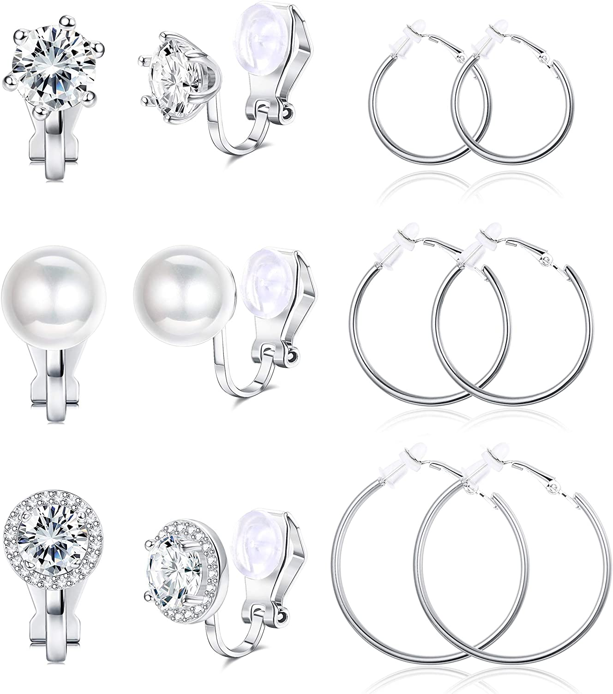 Ubjuliwa 6 Pairs Clip On Earrings for Women Fashion Hoop CZ Pearl Stud Earrings Women Clip On Earrings Set