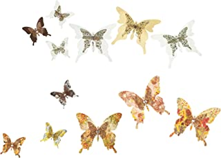 Best Roser Life Craft Butterflies⎮Decorative Artificial Butterfly Clips⎮Silk Fabric Butterfly Decorations⎮Floral Butterflies⎮Handmade Vintage Ornament⎮Home Party Garden Outdoor Decor Rose Gold (Pack of 12) Review