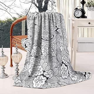 Unicorns Farting Mehndi Art Seamless Pattern Black Summer Thick Reversible Blanket Cozy Bed Warm Throw Blanket Flannel Fleece Blanket, 59 X 79 Inch