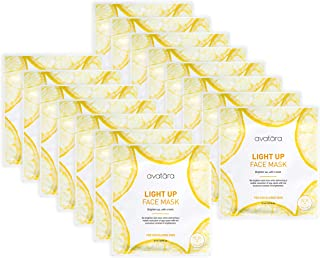 Avatara Light Up Face Mask 15 PC Pack, Helps Manage Discolored Skin, Reduces Age & Sun Spots, Brightens Skin