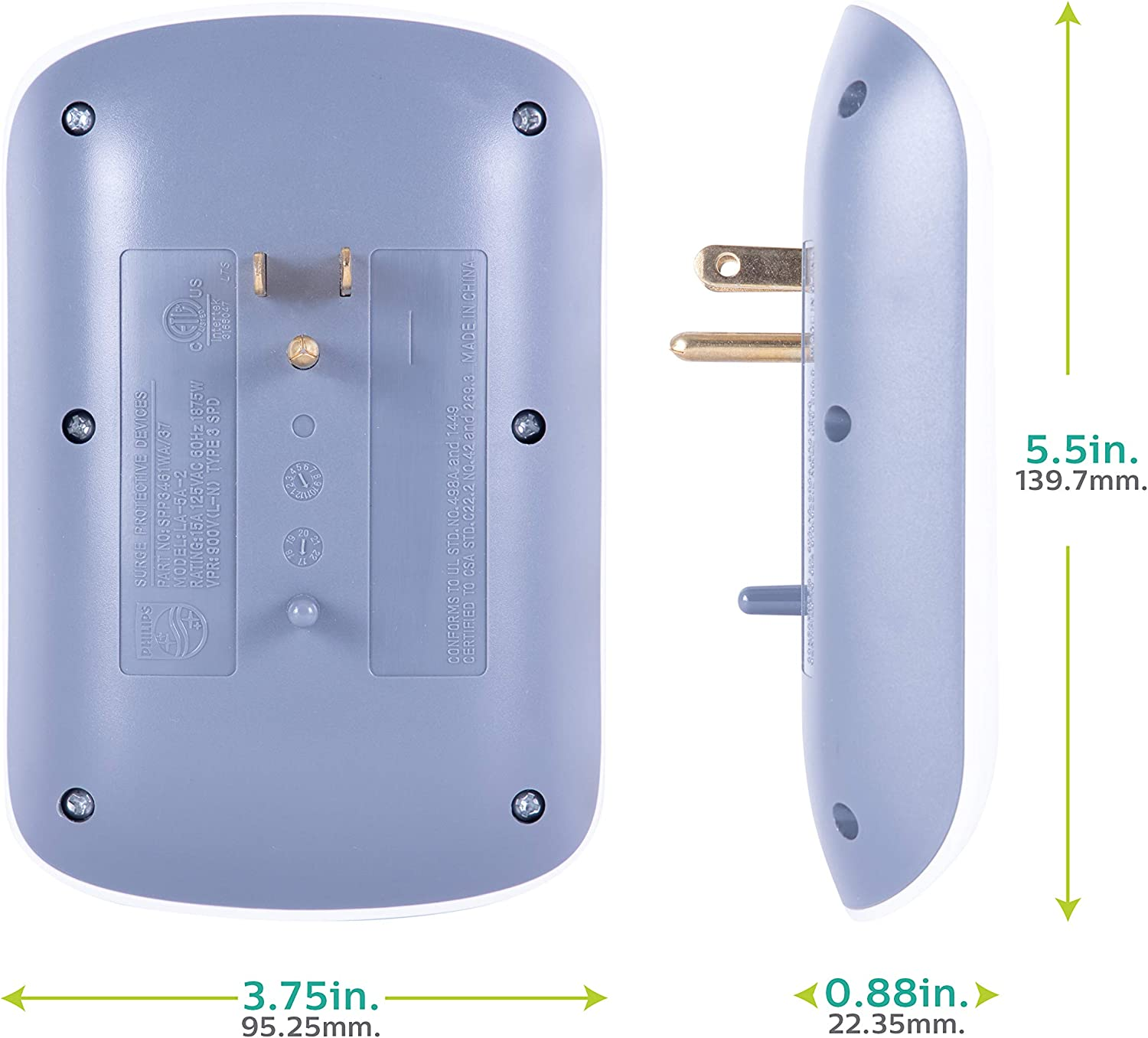 Philips 6-Outlet Extender Surge Protector, 2 Pack, Wall Tap, 900 Joules, 3-Prong, Space Saving Design, Protection Indicator LED Light, ETL Listed, White, SPP3466WA/37