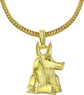 Zilver Men's Gold 18K Plated Fashion Ancient Egyptian God Anubis Chain and Pendant Set Necklace, Infinity Eye of Horus, Eye of Ra, Symbol for Protection,Eye of HERU ANKH