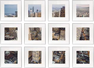Frametory, Set of 12, 12x12 Silver Aluminum Frame - Includes Ivory Mat for 8x8 Picture - Gallery Wall Display - Sawtooth Hanger, Swivel Tabs - Great for Engagements, Graduations, Prints, Artwork