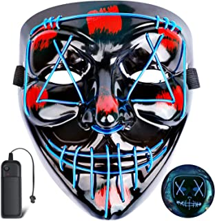 Halloween Led Mask,Scary Glowing Cosplay Costume Mask,LED Light up Purge Mask for Halloween Festival Party