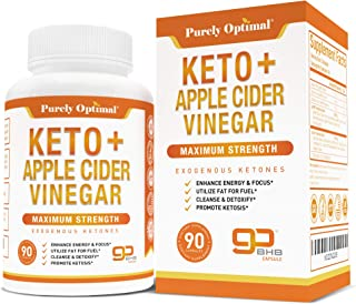 Premium Keto Pills + Apple Cider Vinegar Capsules with Mother - Utilize Fat for Energy w/Ketosis, Boost Energy & Focus, Manage Cravings, Metabolism Support - BHB Keto Diet Pills for Women, Men