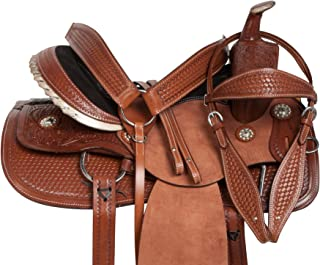 """AceRugs 15"""" 16"""" 17"""" 18"""" Rodeo Cowboy Rough Out Premium Leather Western Pleasure Trail Comfy Ranch Work Horse Saddle TACK Package"""