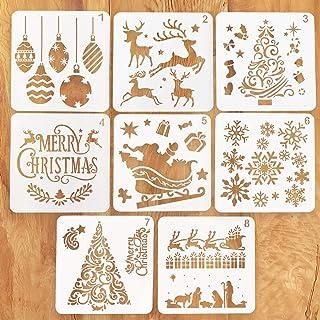 Kizh Christmas Stencils Template,8 Pcs Reusable Plastic Craft Art Drawing Painting Spraying Journaling Scrapbook Holiday Xmas Snowflake DIY Decoration for Window Glass Door Car Body Wood