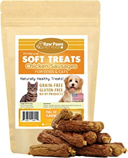 Raw Paws Real Chicken Sausage Dog Treats - Made in USA - Chewy, Soft Chicken Treats for Dogs - Grain-Free Sausage Links for Dogs - Natural Dog Sausage Treats - Puppy Dog Treats Chicken Flavor