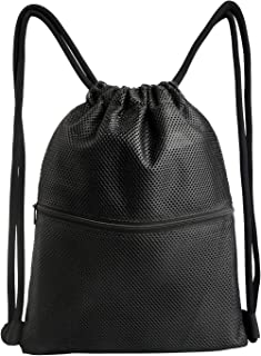 Heavy Duty Mesh Drawstring Bag with 3 Pockets Mesh Swim Pool Bag for Swimming, Beach, Diving, Travel, Gym
