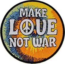 Lilie Crea - Parche Bordado termoadhesivo, diseño con Texto Make Love Not War, Peace and Love