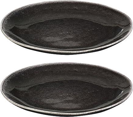 Preisvergleich für 2er Set Teller Ø 20cm flach Porzellan Vintage Steingut Schwarz Speiseteller