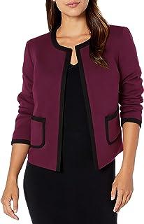 NINE WEST Womens Ponte Jewel Neck Jacket with Trimming Detail Blazer