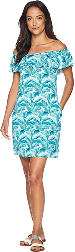 Among Fronds Ruffle Spa Dress Cover-Up