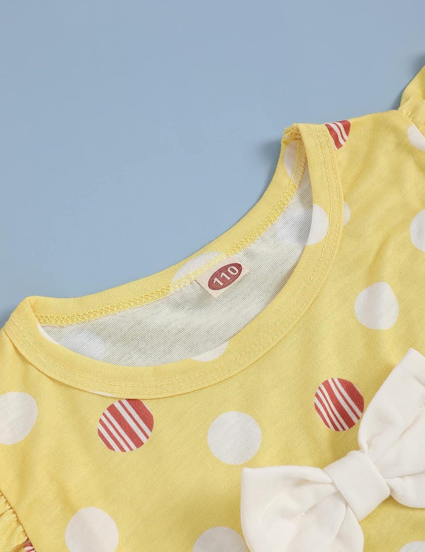 Recabee Toddler Baby Girl Outfits Polka Dot Ruffle Sleeve Crop Top+Shorts Baby Girl Casual Summer Clothes Set