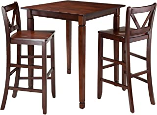 Winsome 3 Piece Kingsgate Dining Table With 2 Bar V Back Chairs Brown