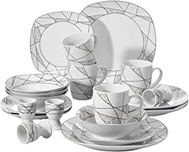 VEWEET 20-Piece Ceramic Dinnerware Set Ivory White Irregular Patterns Porcelain Kitchen Sets with Dinner Plate, Dessert Plate, Bowl, Mug, Egg Cup, Service for 4 (Serena Series)