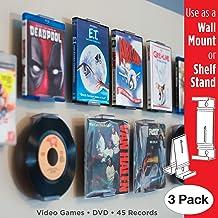 CollectorMount Accesorio de DVD y Videojuego, 45 RPM y BLU-Ray Montaje en Pared y Soporte para Estantería, Invisible y Ajustable, Paquete de 3