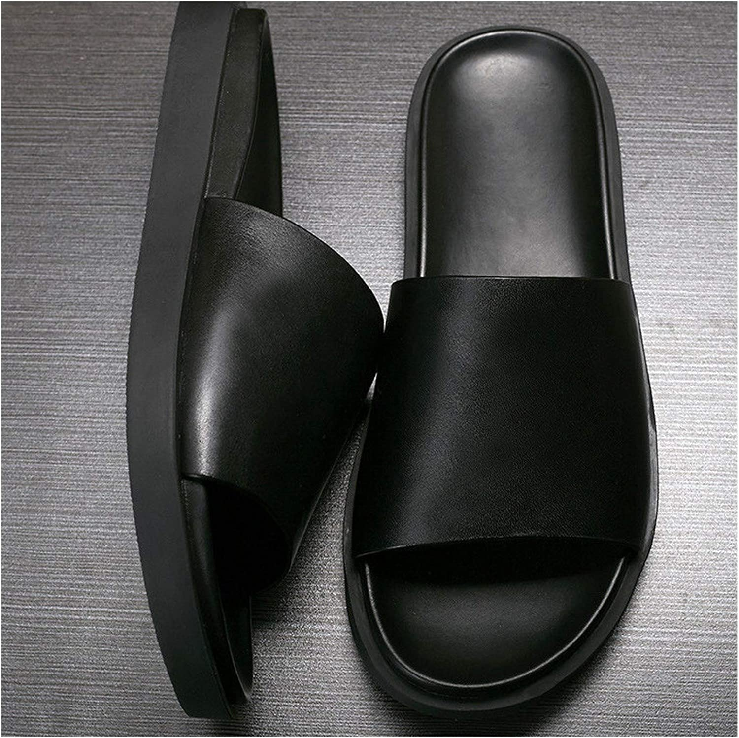Wood-1 Men Real Leather Pure Black Casual Sandals Basic Slipper shoes Men Non-Slip Summer Beach Touring shoes