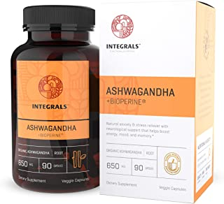 Integrals Organic Ashwagandha Capsules + Bioperine | Potent 650mg of Ashwagandha Root in Every Vegan Capsule | Natural Energy Booster - Mood Support - Anxiety & Stress Relief