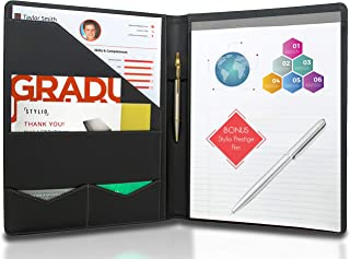 STYLIO Padfolio w/Premium Pen - Resume Portfolio Folder - Interview/Legal Document Organizer & Business Card Holder - with Letter-Sized Writing Pad - Handsome Piano Noir Faux Leather Matte Finish