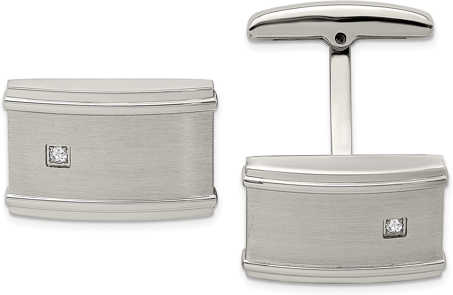 Stainless Steel Great interest Brushed Industry No. 1 Cufflinks CZ Polished