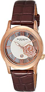 Akribos Xxiv Women's Quartz Watch, Analog Display and Leather Strap Ak837Rgbr