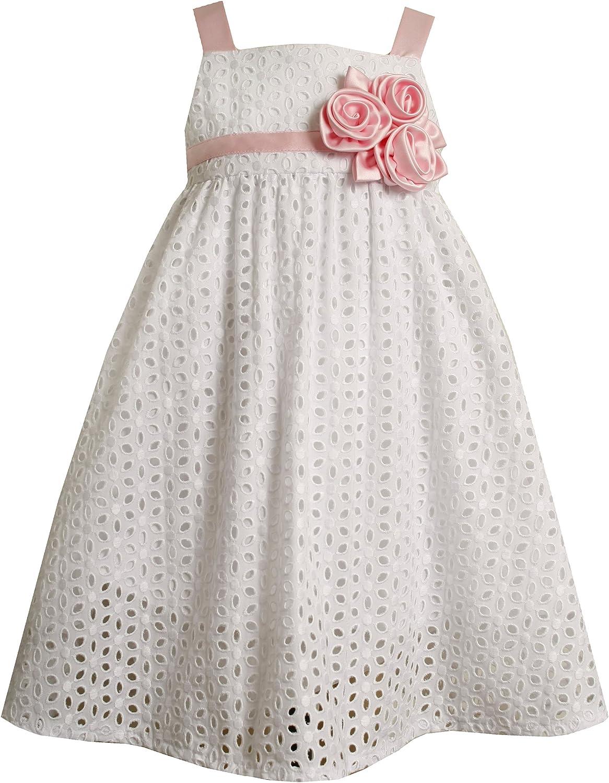 Bonnie Jean Little Girls' Eyelet Dress With Satin Trim