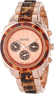 August Steiner Women's Fashion Dress Watch - Sunburst Dial with Day of Week, Date, and 24 Hour Subdial on Two Tone Rose Gold Toneand Tortiseshell Resin Bracelet - AS8062