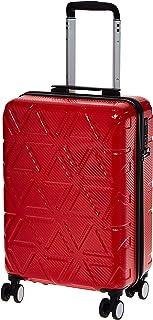 AmazonBasics Pyramid Hardside Carry-On Luggage Spinner Suitcase with TSA Lock - 22 Inch, Red