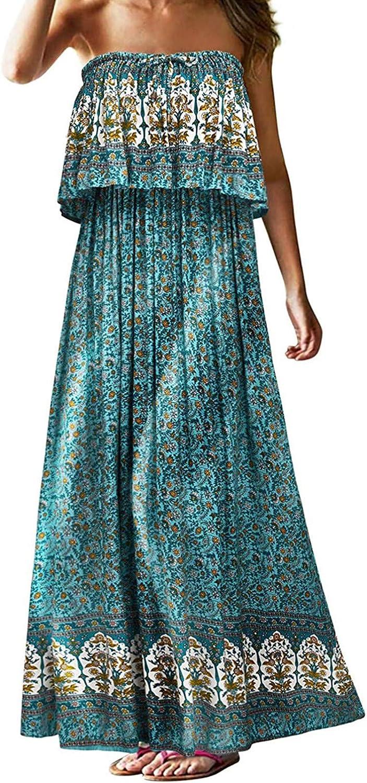 Alysofia Women's Summer Vintage Tube Up Flowy Strapless Maxi Dress Long Beach Boho Floral Printed Vacation Dresses