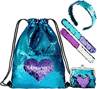 WolinTek-Mermaid Borsa con Paillettes Zaino Borsa Paillettes Reversibili Glitter con Fascia Lacci Glittering Outdoor Traco...