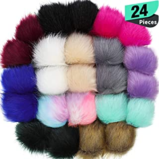 24 Pieces Faux Fox Fur Pom Pom Balls with Elastic Loop DIY Faux Fur Fluffy Pompoms Ball with Rubber Band Knitting Accessories for Hats Shoes Scarves Bags Keychain Charms (Bright Color)