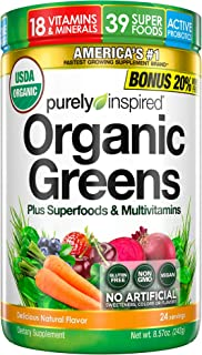 Purely Inspired Organic Greens Powder, 39 Superfoods + Multivitamins, Healthy Nutrition on the Go, Fruits + Vegetables + P...