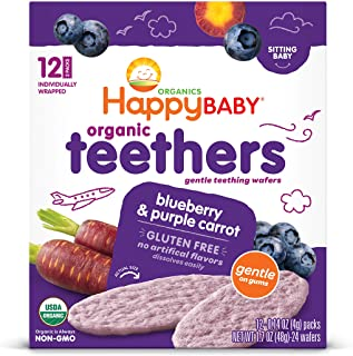 Happy Baby Gentle Teethers Organic Teething Wafers Blueberry and Purple Carrot, 12 Count Wafers (Pack of 6) (Packaging May...
