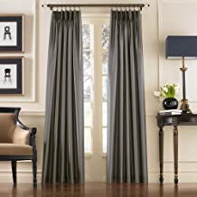 Curtainworks Marquee Pinch Pleat Curtain Panel, Pewter, Faux Silk, 30-Inch x 95 Inch, Solid
