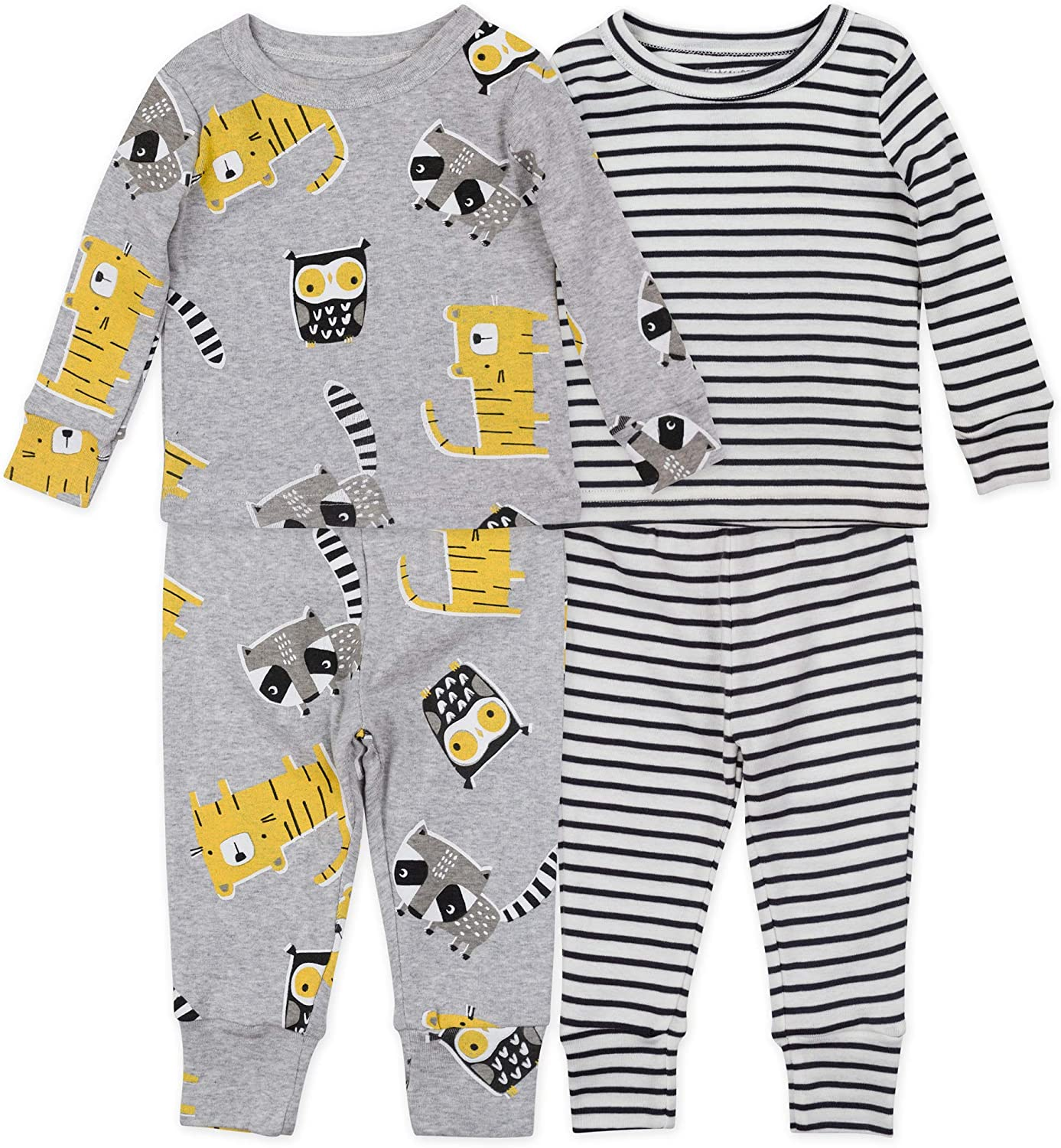 4-Piece Tight Fit Organic Cotton Pajama Set by Mac & Moon in Baby Boy, Girl Prints