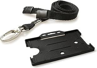 Customcard Ltd Soporte para tarjeta identificativa, mosquetón de metal, correa para el cuello, de color, color negro