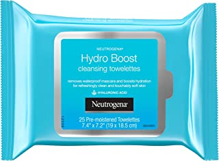 Neutrogena Hydroboost Facial Cleansing & Makeup Remover Wipes With Hyaluronic Acid, Hydrating Pre-Moistened face towelettes To Cleanse & Remove Dirt, Makeup & impurities, 25 Ct (Pack Of 6)