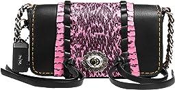코치 크로스바디백 COACH Whipstitch Snake Dinkier,Black Neon Pink
