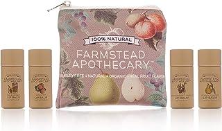 Farmstead Apothecary Lip Balm Gift Set with Pouch - Reusable Pouch Includes 4 -.2 oz Lip Balms - Boysenberry Vanilla, Fig ...