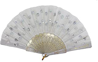 Radix Elegant Fabric Folding Hand Fan (White) - Snaps Open, Easy to Handle. Cools effortlessly. Perfect Ballet and Dance Fan.