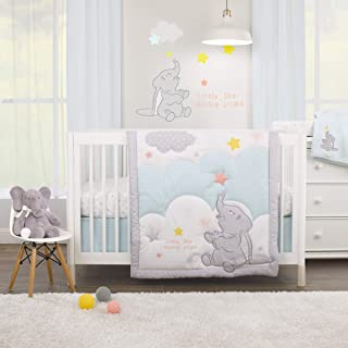 Disney Dumbo - Shine Bright Little Star Aqua, Grey, Yellow & Orange 3Piece Nursery Crib Bedding Set - Comforter, Fitted Cr...