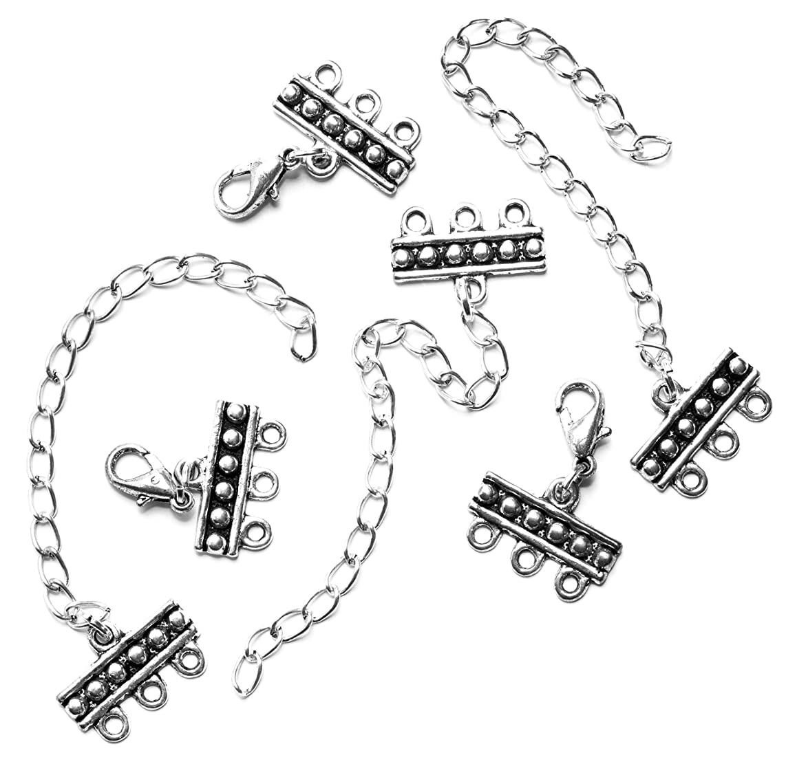 3 Strand Silver Metal Clasps with Extender Chains